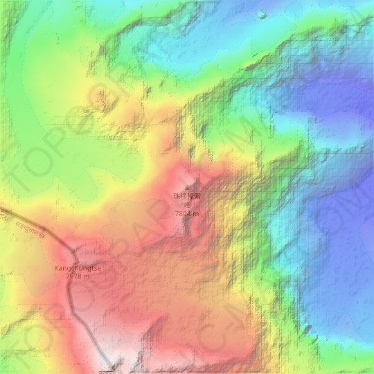 Mapa topográfico 珠穆隆索峰, mapa de relieve, mapa de altitud